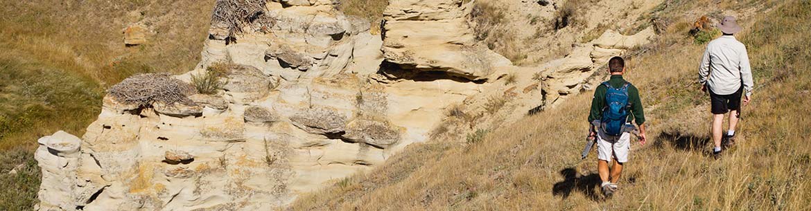Walking through hoodoos at Sandstone Ranch (Photo by NCC and Monte Solberg)