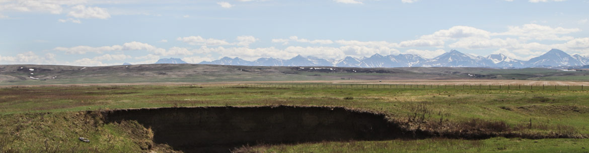 View of the mountains from Bloomin' Inn, Pincher Creek (Photo by NCC)