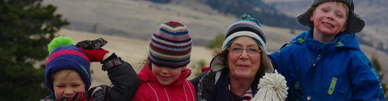 Agnes Jackson and her grandkids on Napier Lake Ranch (Photo courtesy the Jackson family)