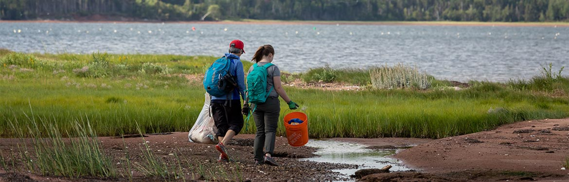 Conservation volunteer shoreline clean up (Photo by Stephen DesRoches)