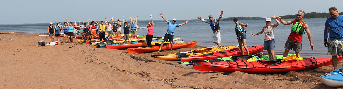 Group of volunteers ready to kayak Murray Harbour to clean the beaches (Photo by NCC)