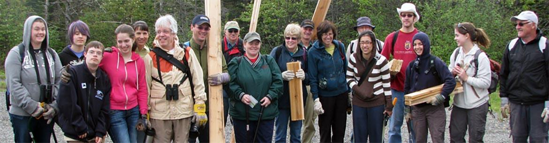 Activité des Volontaires pour la conservation, aménagement de sentiers, estuaire de la Musquash, Nouveau-Brunswick (photo de CNC)