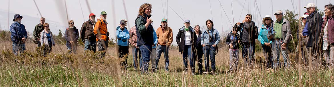 NCC staffer Val Deziel and guests at Hazel Bird Day this past May, Rice Lake Plains, ON (Photo by Lisa Milosavljevic/Evermaven)