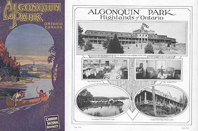 1925 Canadian National Railways Algonquin Park pamphlet showing painting of Highland Inn on cover, with centerfold photographs of Highland Inn, Nominigan Camp and Camp Minnesing (Public Domain)