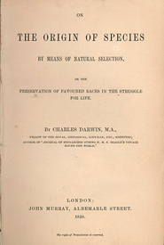 The title page of the original first edition of <i>On the Origin of Species, 1859</i> (Photo from Wikimedia Commons)
