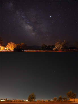 Comparison showing the effects of light pollution on viewing the sky at night. (Photo by Jeremy Stanley, Wikimedia Commons)