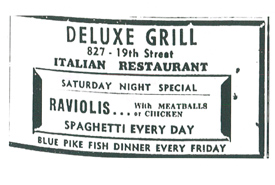 Newspaper ad from 1946 featuring a blue pike dinner (Photo by Journal of the Dead Beats Society)
