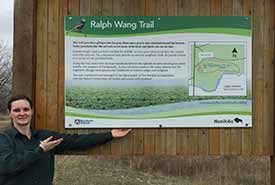 The Ralph Wang Trail sign (Photo courtesy of Ashley Greenley/NCC)