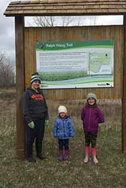 Me and my nieces by the trail sign (Photo courtesy of Ashley Greenley/NCC)