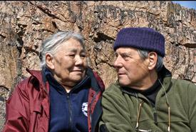 Author Norman Hallendy with Inuit artist Kenojuak Ashevak (Photo courtesy Norman Hallendy)