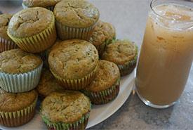 BaDandelion muffins and iced dandelion tea latte. (Photo by NCC )