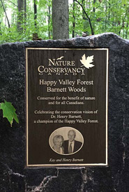 Barnett plaque in Happy Valley Forest, ON (Photo by Mimi Chan)