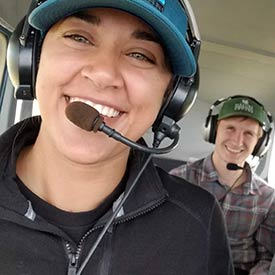 Logan and I on the aerial monitoring flight (Photo by NCC)