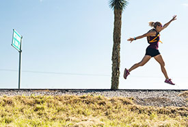 Carlotta James, running along the highway, in the state of Guanajuato. (Photo courtesy of Carlotta James)