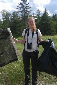 Claire Elliott at a Conservation Volunteers Event in Tabusintac, NB. (Photo by Joanna Hudgins)