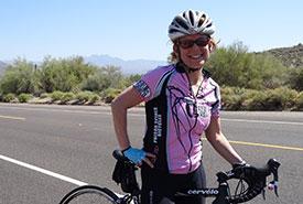 Gayle Roodman cycling in Mesa, Arizona (Photo by Ian Woodworth)