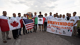 Reception to welcome the Monarch Ultra runners, in the state of Guanajuato. The reception was attended by the Ministry of the Environment and Natural Resources and university students. (Photo courtesy of Carlotta James)