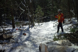 Ryan Downey, Downey Tree Service cleaning up the damages of an ice storm that hit NCC's Creemore Nature Preserve in spring (Photo by NCC)