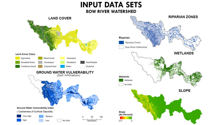 Five input data sets for the Bow River Watershed (Photo by Suzanne Marechal)