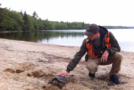 Josh Noseworthy with a snapping turtle (Photo by Frank Merrill)
