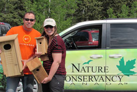 Kailey Setter, NCC Conservation Volunteers coordinator and her dad construct nest boxes (Photo by Cindy Setter)