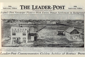 50th anniversary edition of the Regina Leader-Post newspaper, showing what Regina looked like in 1886.