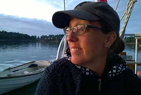 Lesley Neilson on a sailboat at Winter Cove, BC (Photo by Astrid Neilson-Miller)