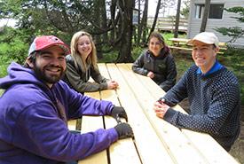 Conservation Interns at NCC's Johnson's Mills Shorebird Interpretive Centre. Top left clockwise: Kaylie McGraw, Savannah Leblanc, Liam Stewart, Matt Durnnian (Photo by NCC)