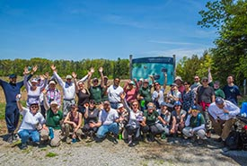 NCC National and Ontario staff at annual field trip, Backus Woods, ON (Photo by NCC)
