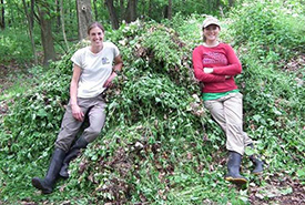 NCC staff tackle invasive garlic mustard (photo by NCC)