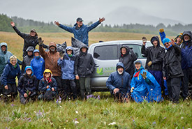 Group of volunteers after a clean up at the Jim Prentice property 2019 (Photo by David Thomas)