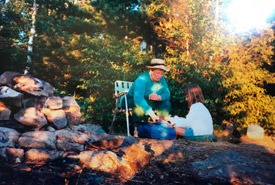 Playing cards with grandma by the campfire. (Photo courtesy Falkenburger family)