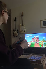 Me playing Animal Crossing: New Horizons during Ontario's stay-at-home order. (Photo courtesy of Raechel Bonomo/NCC staff)