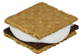 A S'mores made with a half a Hershey's chocolate bar, Nabisco graham crackers and a marshmallow. (Photo by Evan Amos, Wikimedia Commons)