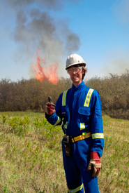 Author Matthew Braun in his prescribed fire safety gear. (Photo by NCC)