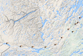 Loeffler's 210-kilometre canoe route from Lake Shipiskan to the Labrador Sea (Screenshot courtesy of TA Loeffler)