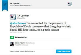 TA receives a little motivation from TV star, Allan Hawco and his 22,000 plus fans (Screenshot courtesy of TA Loeffler)