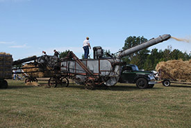 Threshing machine, a modern version of one that was used on the family farm back in the day (Photo by Ben Franske)