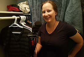 Voicing the podcast in my home recording studio (Photo courtesy of Tiffany Cassidy/NCC staff)