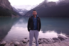Me at Lake Louise during the evening (Photo by Tazim Hunter)