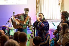 The band in action with our throat-singing friends Lynda Brown and Heidi Langille (Photo by Dan Roy)
