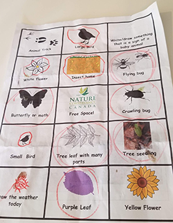 Printout of NCC's nature bingo, with scribbles from my toddler. (Photo by Wendy Ho/NCC staff)