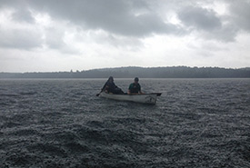 Canoeing builds character: Me and my husband, Gabhan Chalmers, were caught in a fall storm in Algonquin Park (Photo by Daniel Scott).
