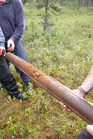 Carottier with peat sample (Photo by Gabriel Magnan)