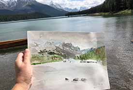 Maligne Lake, AB. Painting allows you to slow down and see and sense the nature around you from a different vantage. (Photo by Christine Beevis Trickett/NCC staff)