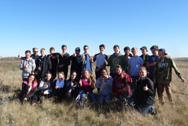 Smiling faces of the outdoor education students from Greenall High School in Balgonie, SK. (Photo by NCC)