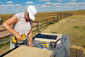 Conservation Volunteers from across Saskatchewan joined together to build bat boxes. (Photo by NCC)