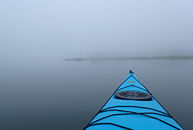 Paddling to the Musquodoboit islands in the fog on calm waters (Photo by NCC)