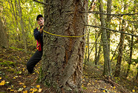 Measuring trees on the Midgeley Conservation Area (Photo by Steve Ogle)