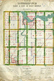 Survey map from the Dominion Land Survey (Photo by Manitoba Archives 2019)